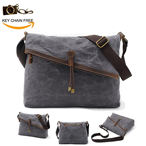 Messenger Bag for Men Genuine Leather Crossbody Satchel Over The Shoulder Bags Women Man Vintage Waxed Canvas Cross Body Hobo Purses Unisex (Grey)