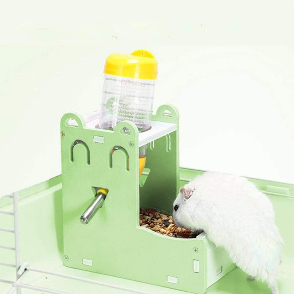 Zhang Ku 2 in 1 Small Pet Water Dispenser, with Food Container Base and 80ml Water Bottle for Bird Guinea Pig Hamster Hedgehog Chinchilla Ferret