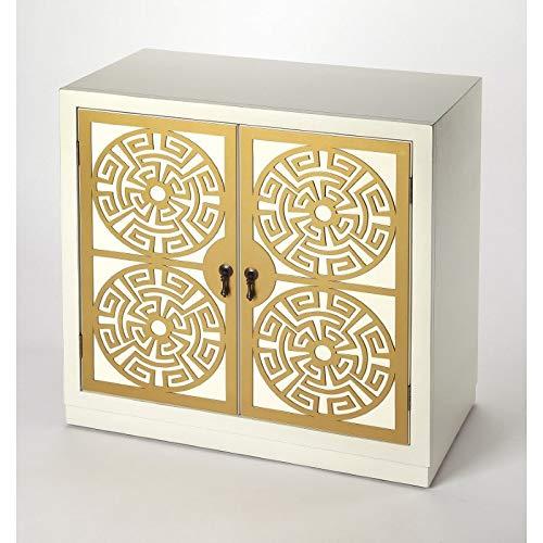 ctangular Bayur & Okume wood solids, MDF, Antique gold finished hardware BUTLER KIKU GOLD & WHITE ACCENT CABINET ()