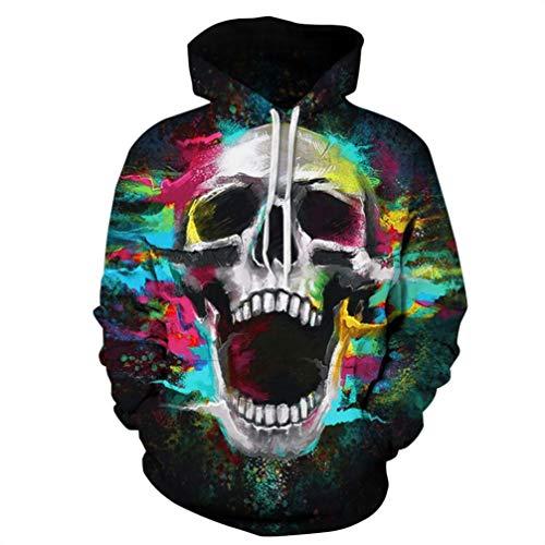 Halloween Skull Hooded Sweatshirt Sweater Pullover - Unisex Hoodie 3D Printed Hoodie Teens Jumpers Women Men (Multicolor #1,XL) by Winsummer