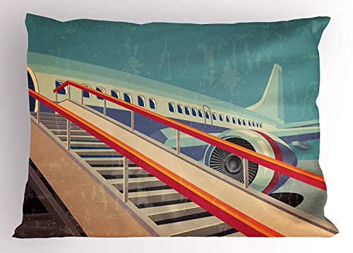 (K0k2t0 Vintage Modern Pillow Sham, Jet Commercial Airlines Plane Design Eighties Travel Theme Holiday Vacation, Decorative Standard Queen Size Printed Pillowcase, 30 X 20 inches,)