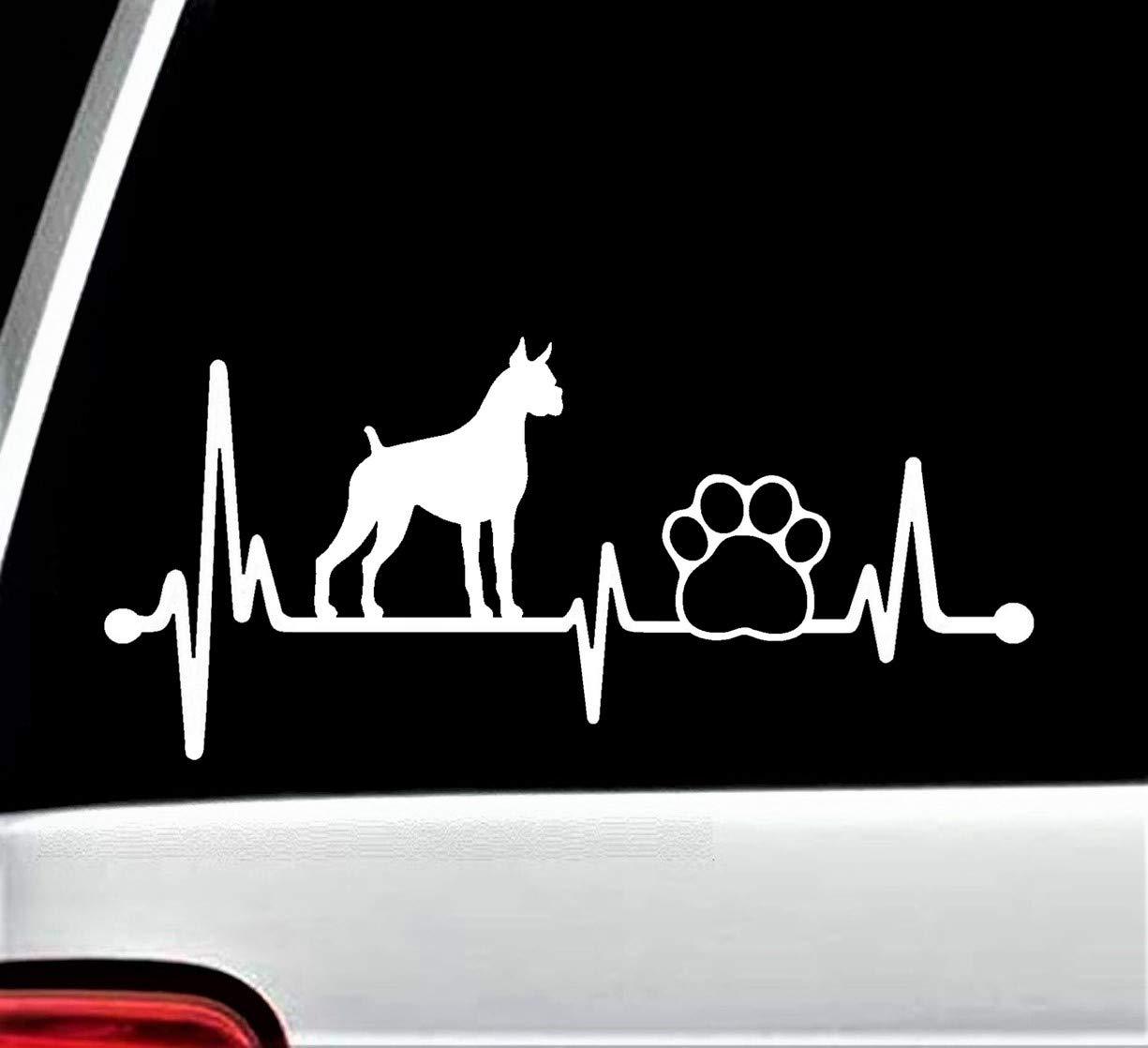 Boxer Heartbeat Lifeline Dog Paw Decal Sticker for Car Window 8 Inch BG 152
