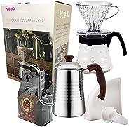 Kit Café Completo Novo Hario V60 HR-VCND-02B-EX Chaleira Portal Café PRO INOX Café Gourmet 250g Filtro Hario 0