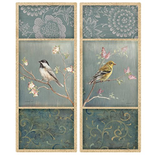 Wallies Wall Decals, Birds and Blossoms Wall Stickers, Includes 4 Wall Panels