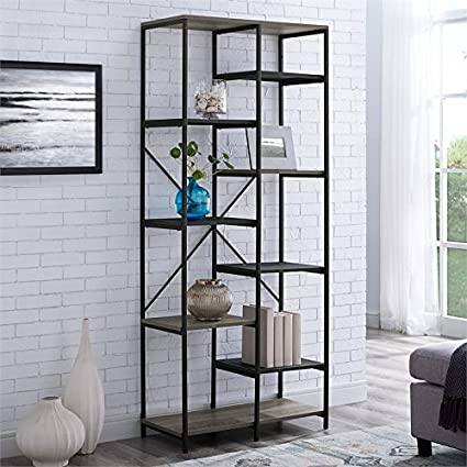 WE Furniture AZS68STRGW Mixed Material Bookshelf Grey Wash
