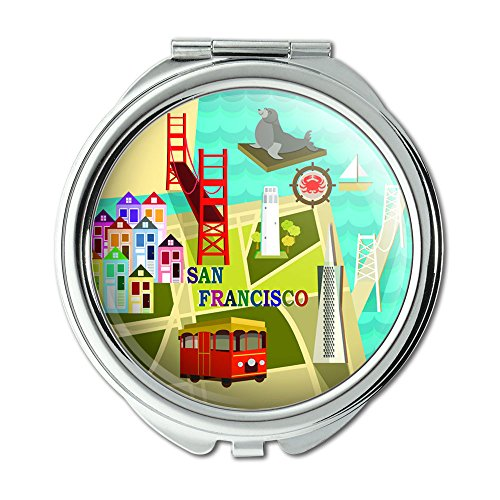 San Francisco Golden Gate Bridge Bay Pier 39 Compact Purse Mirror - San Francisco Mirror