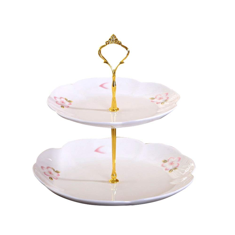 Cake Stand 2 Tier Ceramic Cake Stand White Wedding Fruit Plate Ceramics Cupcake For Cakes Desserts Fruits Candy Buffet Stand For Wedding & Home Elegant Cake Stand (Color : Gold, Size : One size)