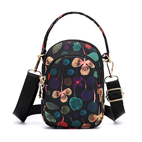 (Travel Crossbody Bags Small Shoulder Bag Wallet Purse Cellphone Pouch Stylish Handbag 3 Layers Chest Pockets Flower Pattern For Women Leaves)
