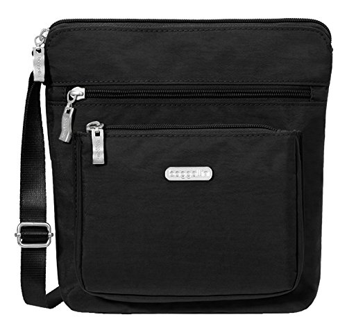 Baggallini Pocket Crossbody Bag With RFID-Protected Wristlet, Black/Sand