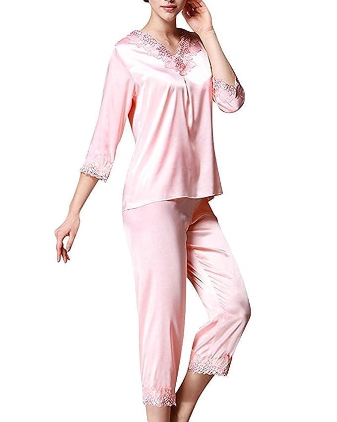 TT Global Pijamas para mujer, Bordado de flores de encaje Satén suave y cálido Manga larga y pantalones largos,Mujer Satin camisones Pijamas Raso: ...