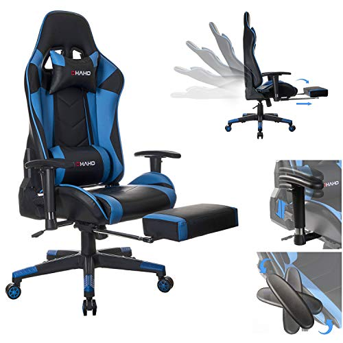 OHAHO Gaming Chair Racing Style Office Chair Recliner Computer Chair PU Leather High-Back E-Sports Chair Height Adjustable Gaming Office Desk Ergonomic Chair with Lumbar and Footrest Black Blue