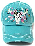 CAPS 'N VINTAGE Turquoise Women's Floral Cow Skull Embroidery & Rose Detail Hat
