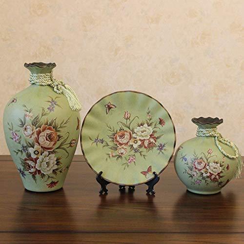 YZUEYT ヨーロッパのレトロな庭の装飾花瓶装飾クリエイティブセラミック工芸アメリカの国装飾プレート花瓶セット YZUEYT (Size : A) B07PBNV3GQ  A