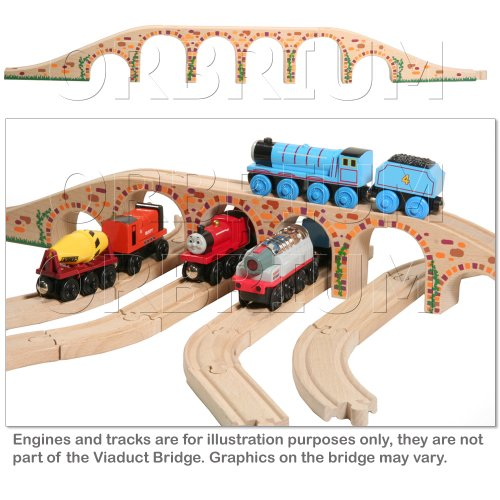 Orbrium Toys 6 Arches Viaduct Bridge for Wooden Railway Track Fits Thomas Trains Brio set ()