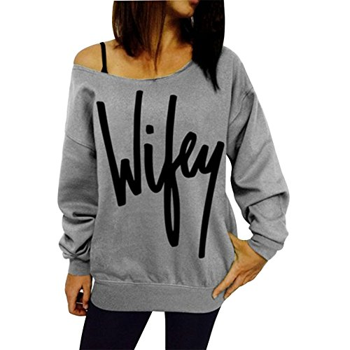 Herebuy8 Womens Casual Letter Print Loose Sweatshirt Casual Pullover Top (XL, Grey)