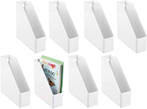 mDesign Plastic File Folder Bin Storage Organizer - Vertical with Handle - Holds Notebooks, Binders, Envelopes, Magazines - Container for Home Office and Work Desktops - 8 Pack - White