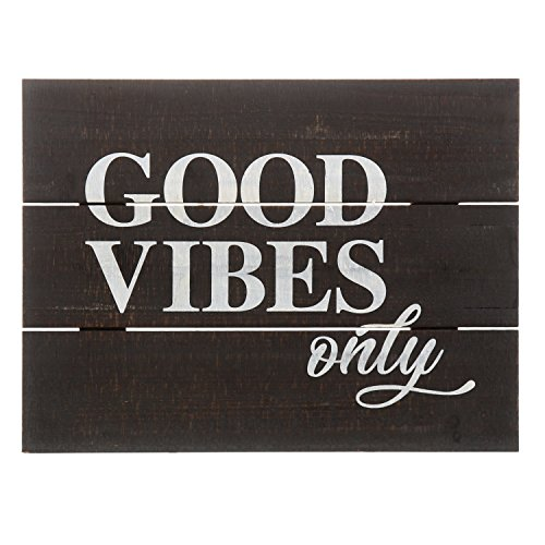 (Barnyard Designs Good Vibes Only Distressed Wood Plaque, Primitive Country Farmhouse Home Decor Sign 16