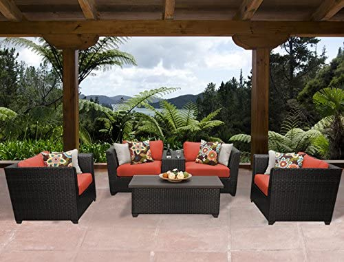 TK Classics BARBADOS-06d-TANGERINE Barbados 6 Piece Outdoor Wicker Patio Furniture Set
