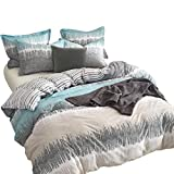 Joyreap 3 Pieces 100% Cotton Duvet Cover Sets, Premium Hotel Quality Quilt Cover Sets, White Blue and Gray Sound Waves Moire Pattern, Soft & Hypoallergenic for Teens and Adults (Sound Waves, Queen)