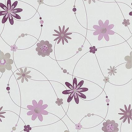 P S Flower Pattern Floral Motif Textured Striped Washable Wallpaper White Purple Taupe 05563 40