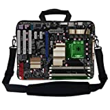 Meffort Inc 17 17.3 inch Neoprene Laptop Bag Sleeve with Extra Side Pocket, Soft Carrying Handle & Removable Shoulder Strap for 16'' to 17.3'' Size Notebook Computer - PC Board Design