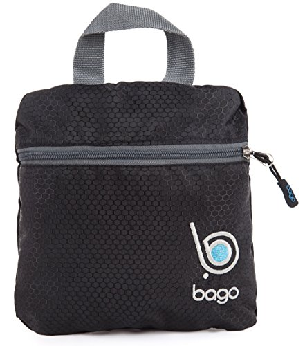 Bago Lightweight Backpack. Waterproof Collapsible Rucksack for Travel and Sports. Foldable and Packable Daypack for Adults, Teens and Children. 25l Black