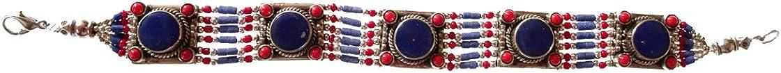 Pulsera De Eslabones Bohemios Hechos A Mano Diseño Con Baño De Plata Tibetana Para Mujeres Y Hombres, Estilo Étnico Pulsera En Corales Gemas De Lapislázuli Joyas De Moda Gótica De Piedras Preciosas