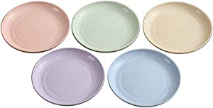 Ymeibe Plastic Plates Dishes 6 inch, Wheat Straw Degradable Healthy BPA Free Tableware Plate Dishes for Toddler Baby Kids, Unbreakable Microwave Dishwasher Safe Lunch Dinner Dessert Dishes Set of 5