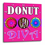 3dRose dpp_43170_1 Donut Diva-Kawaii Sweets-Pink-Wall Clock, 10 by 10-Inch