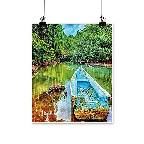 Art Picture Colorful Canvas Print Boat in Tropical River in National Park of Costa Rica Nature Photo Green Paintings for Living Room,28
