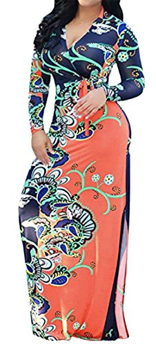 Stampa Scollo A Casuale Aderente Manica Fessura Womens Floreale A Arancione Vestito Cromoncent Lunga V Con xZY5fEn