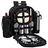 Cheap Picnic at Ascot – Deluxe Equipped 2 Person Picnic Backpack with Coffee Service, Cooler & Insulated Wine Holder – Black