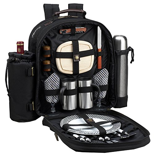 Picnic at Ascot Original Equipped 2 Person Picnic Backpack with Coffee Service, Cooler & Insulated Wine Holder - Designed & Assembled in the USA (Lightweight Picnic Backpack)