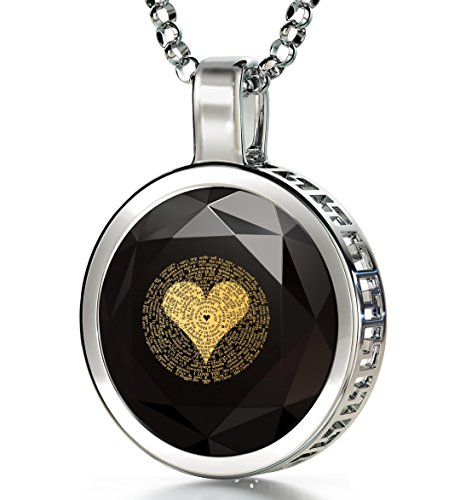 Nano Jewelry 925 Sterling Silver I Love You Necklace 120 Languages 24k Inscribed Black Cubic Zirconia Pendant, 18""