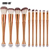 Best Toys & Child Liquid Makeups - Make-up Brushes Set ,Naladoo 10Pcs MAANGE Gold Long-Handled Review