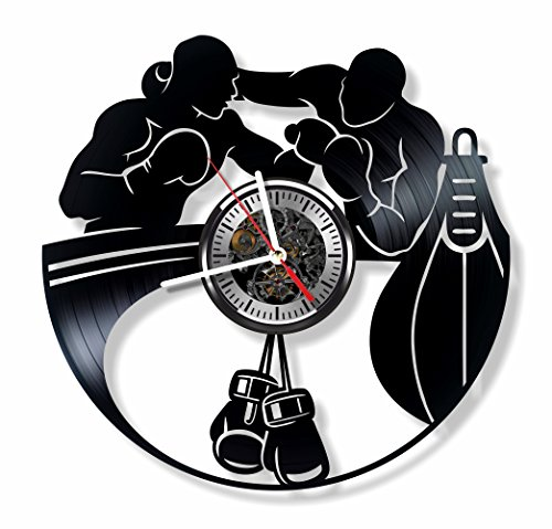 - Boxing vinyl wall clock - handmade decor and gift idea for boxer fighter, gym sports lover