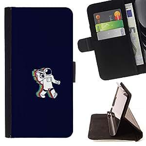 Momo Phone Case / Flip Funda de Cuero Case Cover - Rainbow Astronaut Cosmonaut - Samsung Galaxy S6 Edge Plus / S6 Edge+ G928