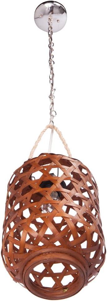 Small Handwoven Bamboo Lantern Pendant Lamp Chocolate Brown 1 Bulb
