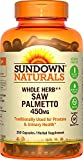 Sundown Naturals Saw Palmetto, 450 mg, 250 Capsules (Pack of 2) For Sale