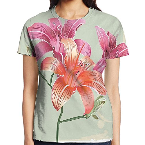 WuLion Lily Flowers On Grunge Backdrop Gardening Plants Growth Botany Women's 3D Print T Shirt XXL White