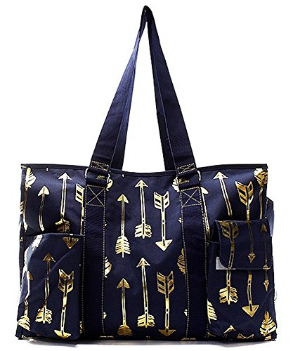 N. Gil All Purpose Organizer 18 Large Utility Tote Bag 3-2017 Spring New Pattern (Gold Arrow Navy) by N.Gil