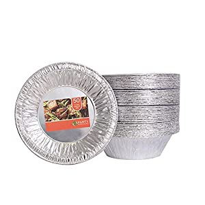 Party Bargains Aluminum Foil Tart / Pie Pans   Perfect for Homemade Cakes & Pies - 5.5 Inch   Pack of 50