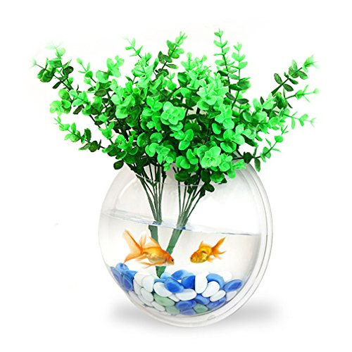ROVATE Wall Hanging Aquarium, Arylic 14.2 Inchs Wall Décor Fish Bowls with Fake Plants + Rock Decoration + Fish Net , Size-Transparent