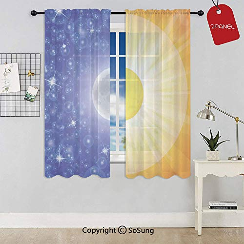 Split Design with Stars in The Sky and Sun Beams Light Solar Balance Image Rod Pocket Sheer Voile Window Curtain Panels for Kids Room,Kitchen,Living Room & Bedroom,2 Panels,Each 42x63 Inch,Blue Yello