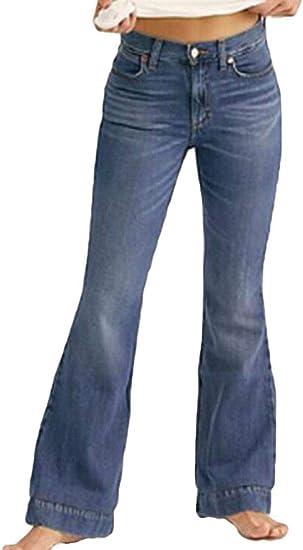 FRPE Women's High Waist Cotton Stretchy Flare Bell Bottom Denim Jeans Pants