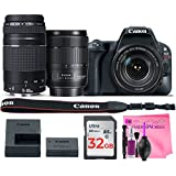Canon EOS Rebel SL2 Digital SLR Camera (WiFi) Body with Canon EF-S 18-135mm 3.5-5.6 IS USM Canon EF 75-300mm 4-5.6 III Lens + Camera Works Premium Cleaning Solution + 32GB High-Speed Memory Card