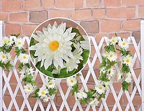 240cm Artificial Flower Silk Daisy Ivy Vine Wedding Hanging Garland Wall Floral Decor for Home Room Garden Outside Outdoor Decoration 1 Pcs (White)