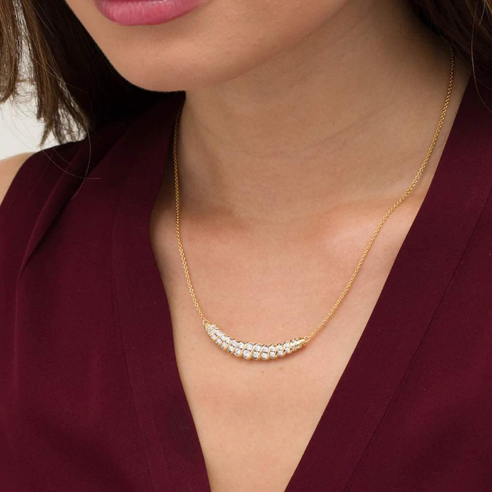 T.W Round Cut Clear D//VVS1 Diamond Slant Spiral Necklace In 10K Yellow Gold Plated 925 Sterling Silver 1 CT