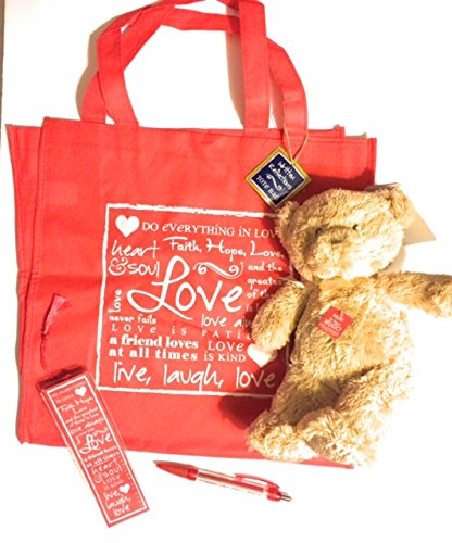 Price comparison product image Valentine's Day Jesus Loves Me Valentine Plush Musical Bear Gift Package Bundle with Scripture Tote Pen & Bookmark