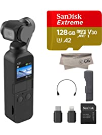 2019 DJI Osmo Pocket Handheld Axis Gimbal with Integrated Camera, Comes 128GB Extreme Micro SD, Attachable To Smartphone...
